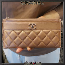 CHANEL ICON Unisex Plain Leather Pouches & Cosmetic Bags