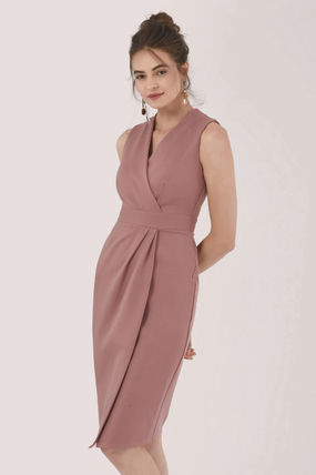 Wrap Dresses Casual Style Nylon Sleeveless V-Neck Plain