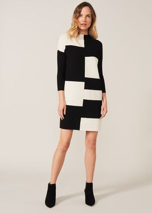Casual Style Tight Cropped High-Neck Elegant Style Dresses