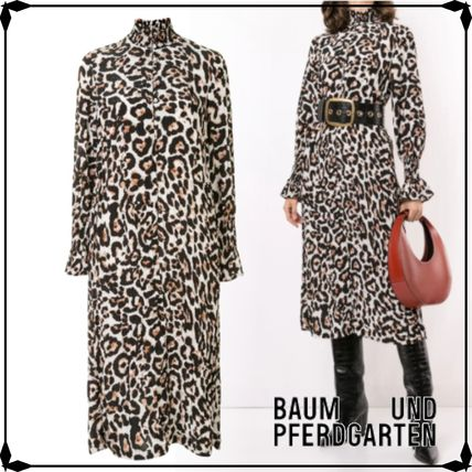 Leopard Patterns Casual Style Long Sleeves Medium High-Neck