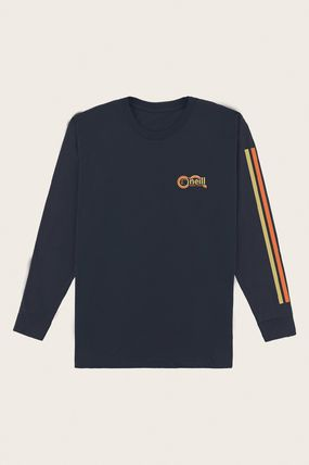 oneill Long Sleeve Crew Neck Pullovers Stripes Tropical Patterns U-Neck 2