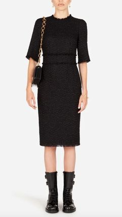 Dolce & Gabbana Tweed Medium Short Sleeves Dresses