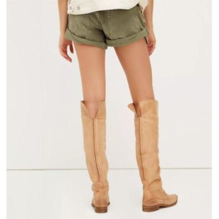 Cowboy Boots Casual Style Plain Leather Over-the-Knee Boots