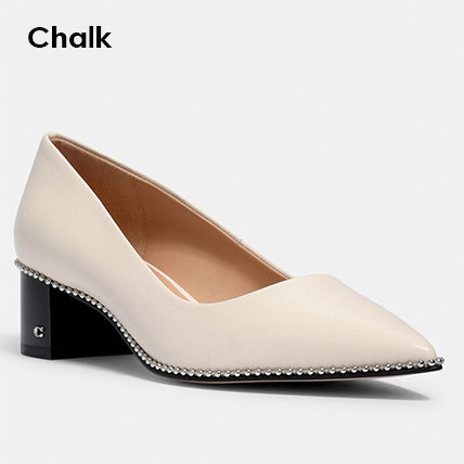 Coach Casual Style Plain Leather Block Heels Party Style