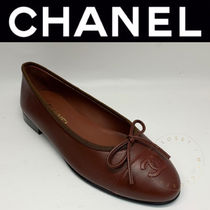 CHANEL ICON Street Style Plain Leather Handmade Logo Ballet Shoes