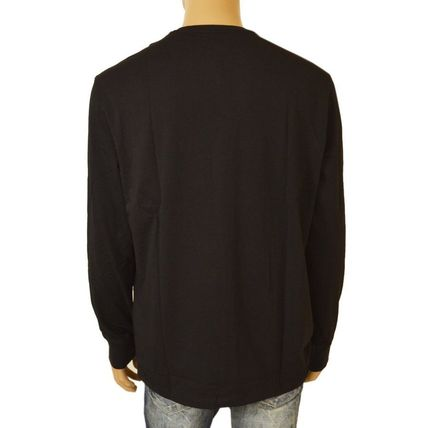 Crew Neck Pullovers Blended Fabrics Long Sleeves Plain