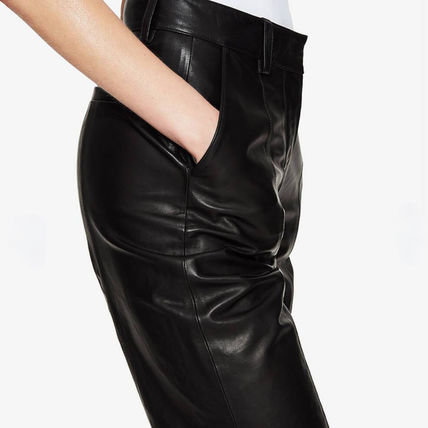 Casual Style Street Style Plain Leather Long Office Style