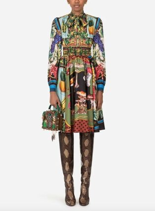 Dolce & Gabbana Silk Long Sleeves Medium Dresses