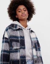 Bershka Other Plaid Patterns Casual Style Street Style Long Coats