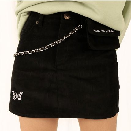 Short Corduroy Street Style Plain Cotton Logo Mini Skirts