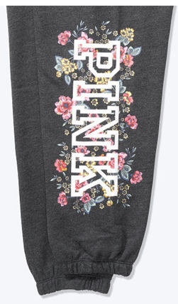 Flower Patterns Casual Style Street Style Co-ord Logo Pants