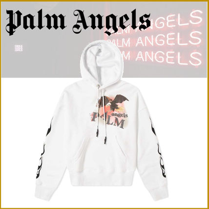 Palm Angels Hoodies Street Style Long Sleeves Plain Cotton Logo Hoodies