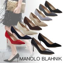 Manolo Blahnik Hangisi Casual Style Suede Plain Leather Party Style Office Style