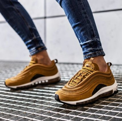 Nike AIR MAX 97 Rubber Sole Casual Style Unisex Suede Logo Low-Top Sneakers