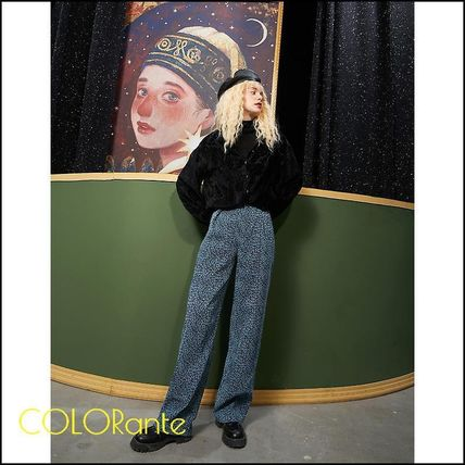 ELF SACK Leopard Patterns Casual Style Street Style Pants