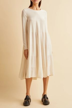 Casual Style Flared Long Sleeves Plain Cotton Midi