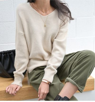 Casual Style Corduroy Plain Long Khaki Wide Leg Pants