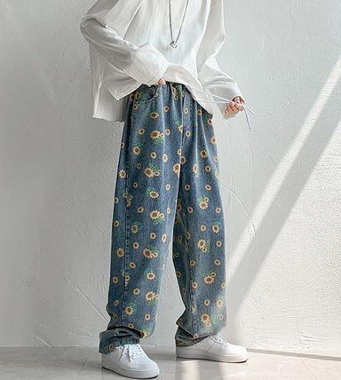More Jeans Flower Patterns Denim Street Style Cotton Oversized Jeans