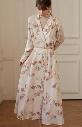 Wrap Dresses Flower Patterns Casual Style Blended Fabrics
