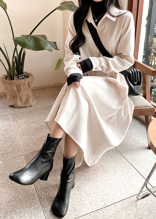 Casual Style Blended Fabrics Long Sleeves Plain Cotton Long