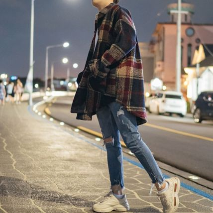 Other Plaid Patterns Unisex Street Style Long Oversized