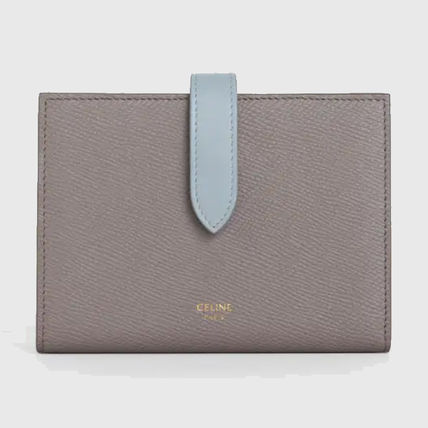 CELINE Strap Folding Wallet Logo Calfskin Leather Folding Wallets