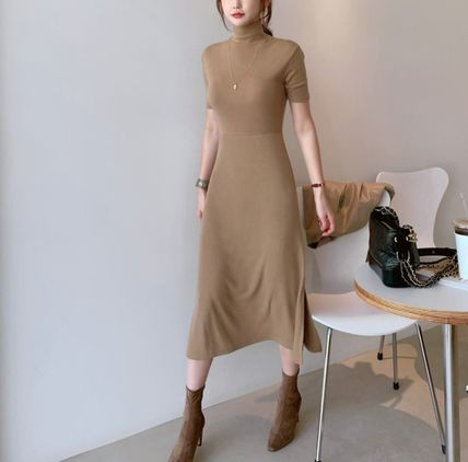 Casual Style Tight Plain Long Short Sleeves Party Style