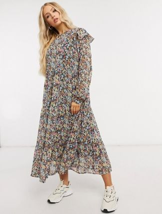 Flower Patterns Casual Style Long Sleeves Medium Tired