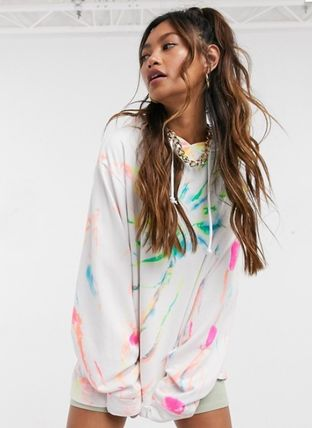 Casual Style Street Style Tie-dye Long Sleeves Cotton