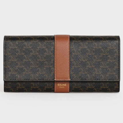 CELINE Triomphe Large Flap Wallet In Triomphe Canvas And Lambskin