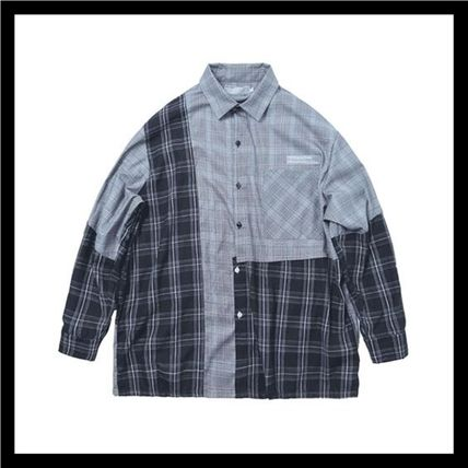 HARSH AND CRUEL Shirts Button-down Other Plaid Patterns Unisex Street Style