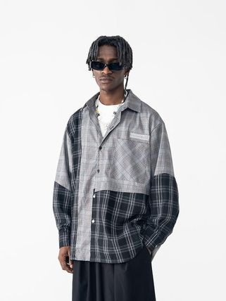 Other Plaid Patterns Button-down Unisex Long Sleeves Cotton