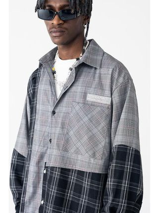 HARSH AND CRUEL Shirts Button-down Other Plaid Patterns Unisex Street Style 3