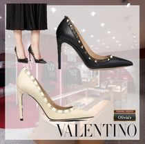 VALENTINO Casual Style Leather Pin Heels Party Style Elegant Style