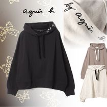 Agnes b Long Sleeves Plain Medium Logo Hoodies & Sweatshirts