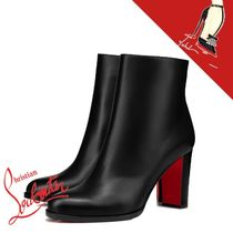 Christian Louboutin Casual Style Plain Leather Block Heels Elegant Style