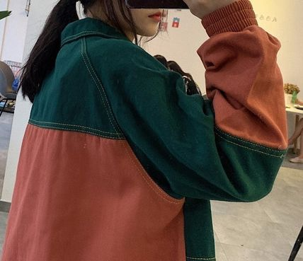 Bi-color Medium Street Style Oversized Souvenir Jackets