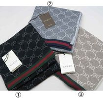 GUCCI Unisex Wool Logo Knit & Fur Scarves