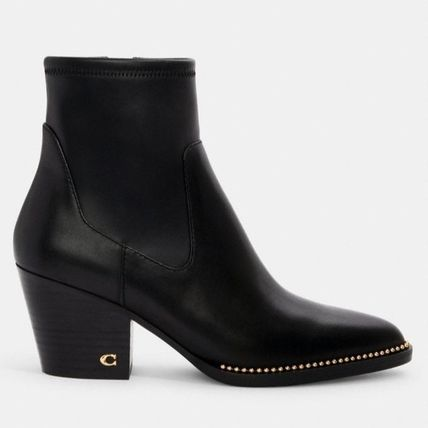 Coach Rubber Sole Casual Style Plain Leather Block Heels