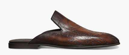 Berluti Leather Logo Loafers & Slip-ons