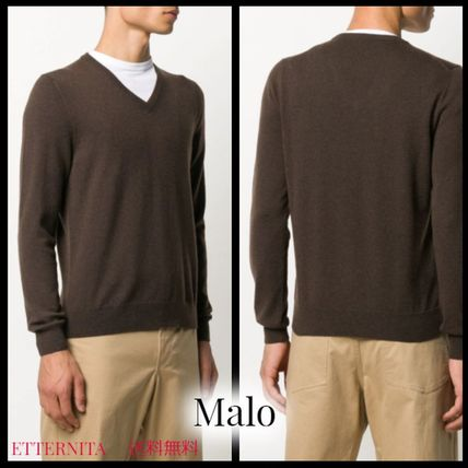 Cashmere V-Neck Long Sleeves Plain Sweaters
