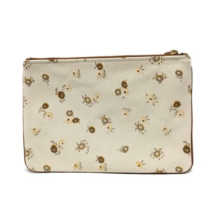 Coach SIGNATURE Casual Style Canvas Leather Logo Clutches