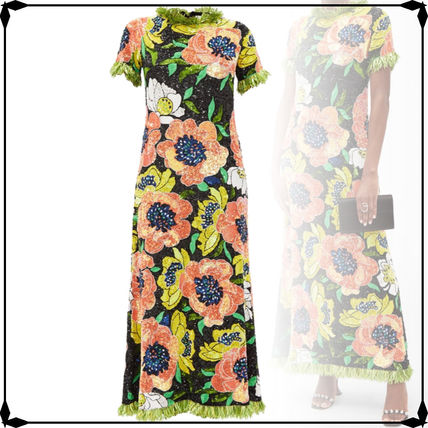 Flower Patterns Tight Maxi A-line Long Short Sleeves