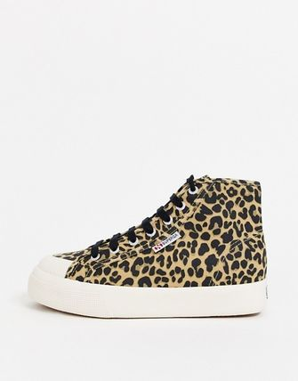 Leopard Patterns Lace-up Casual Style Low-Top Sneakers