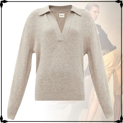 Casual Style Cashmere V-Neck Long Sleeves Plain Office Style