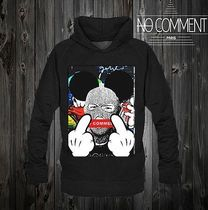 NO COMMENT PARIS Street Style Long Sleeves Cotton Graphic Prints Hoodies