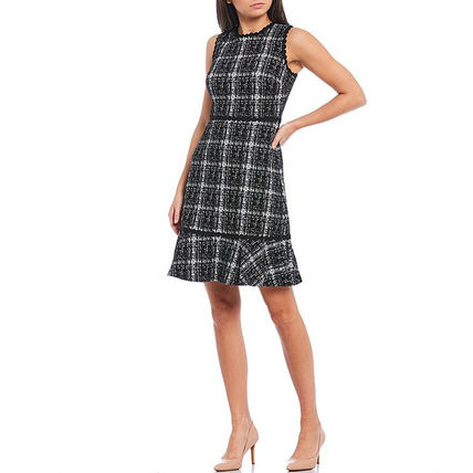 Crew Neck Other Plaid Patterns A-line Tweed Sleeveless