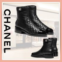 CHANEL Plain Leather Formal Style  Logo Flat Boots