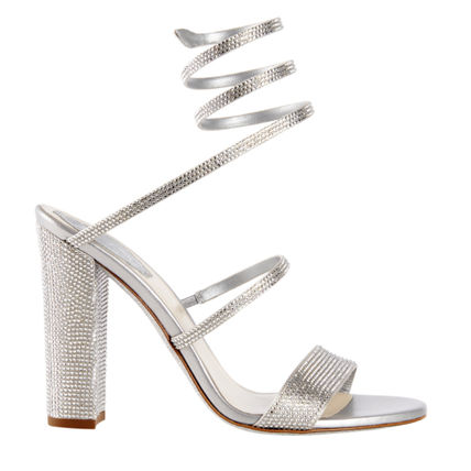 Open Toe Blended Fabrics Block Heels Party Style With Jewels
