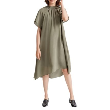 Silk Plain Medium Short Sleeves High-Neck Dresses
